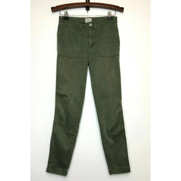 J. CREW Toothpick Skinny Distressed Mid Rise Pants, Olive Green